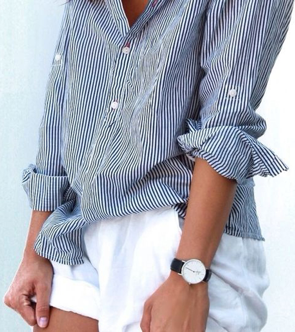striped top + white shorts