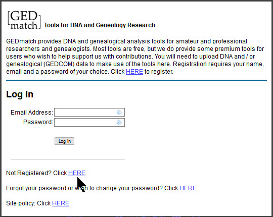 GEDmatch login