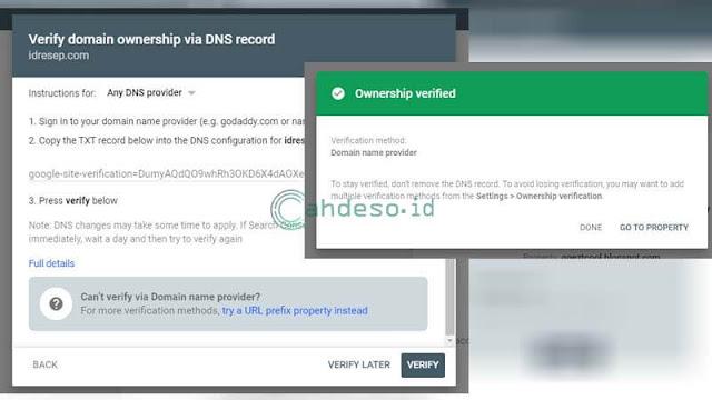 Cara Verifikasi Website ke Google Seach Console via DNS Record
