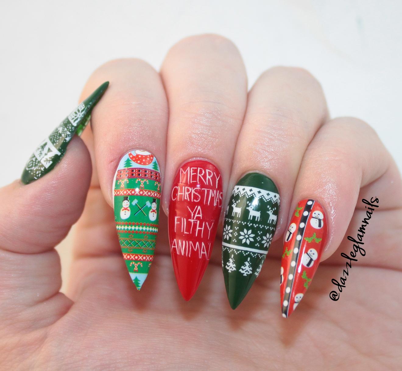 Hand Painted Christmas Nail Art: Dazzle Glam Nails