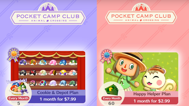 Animal Crossing Pocket Camp Club Cookie & Depot Happy Helper subscription plans cost