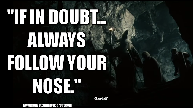 "Gandalf Quotes For Wisdom And Inspiration: ""If in doubt... Always follow your nose."" - Gandalf"