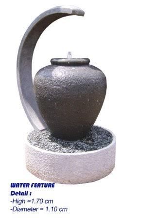air mancur taman & pot: gentong minimalis + lampu
