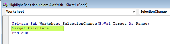 Cara Menandai Sel (Baris dan Kolom ) Aktif di Excel