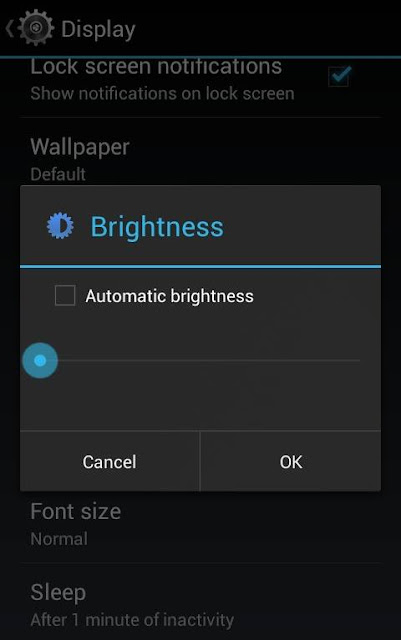 Decrease android smartphone's brightness to decrease android battery consumption