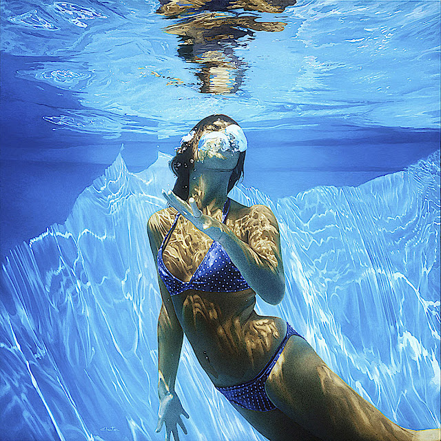 Francois Chartier art, a woman underwater in a swimming pool
