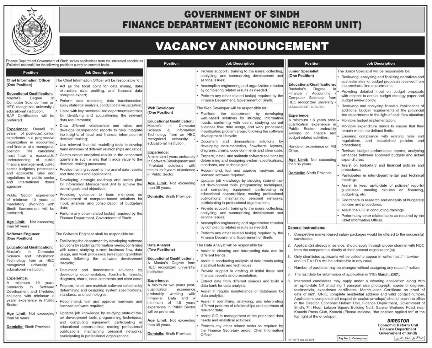 Latest Finance Department Government of the Sindh Economic Reform Unit Jobs 2021 For Software Engineer, Web Developer, Data Analyst & more