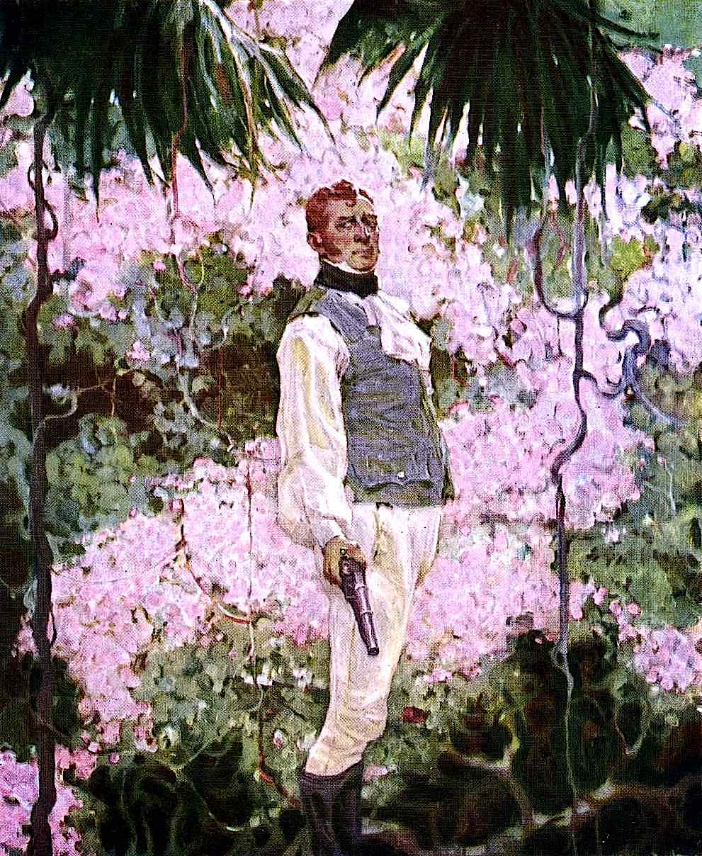a Mead Schaeffer illustration of a good man duelling, with flowers in the background