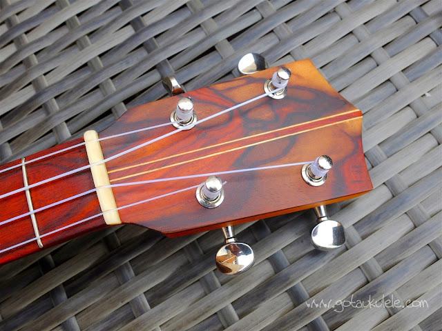 Cocobolo tenor ukulele headstock