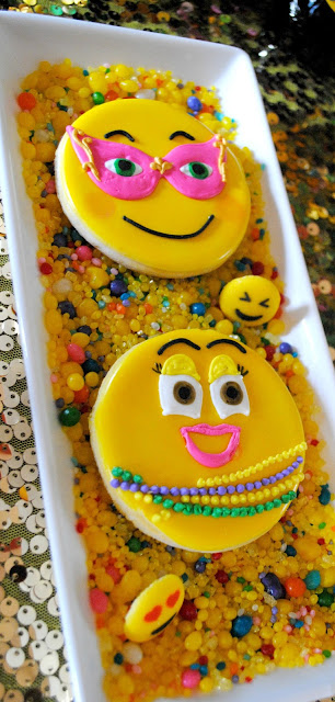 Emoji Mardi Gras cookies by Creating Awesomenessity at a party styled by Fizzy Party