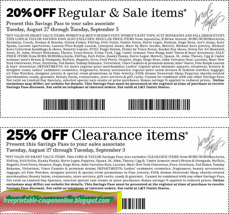 graphic regarding Lord and Taylor Printable Coupon identified as Coupon codes lord and taylor 25 off - Frontier coupon code july 2018