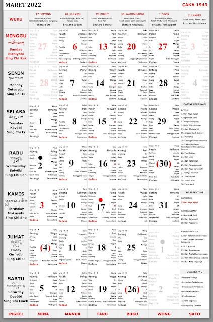 Kalender Bali Maret 2022 Lengkap File PDF dan JPEG