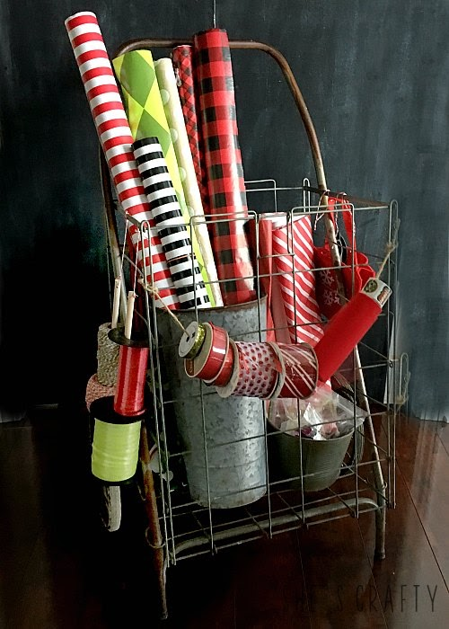 Christmas Gift Wrap Cart from flea market shopping cart