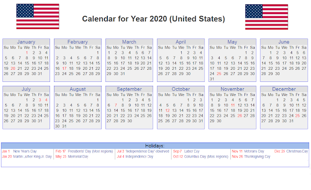 Calendar For Year 2020 (United States)
