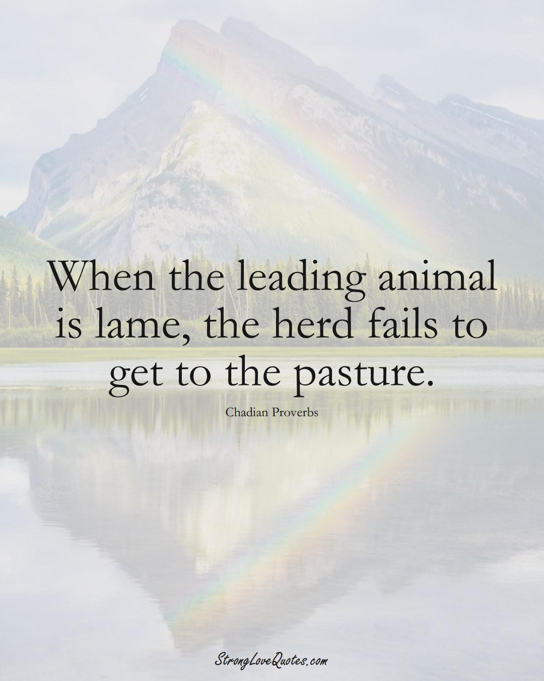 When the leading animal is lame, the herd fails to get to the pasture. (Chadian Sayings);  #AfricanSayings
