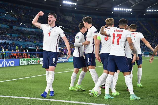 England players celebrating win over Ukraine - Euro 2020
