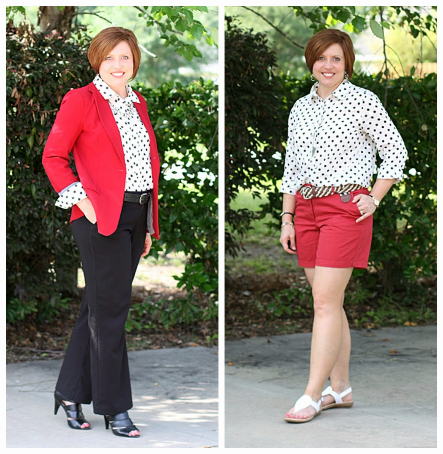 red with polka dots two ways