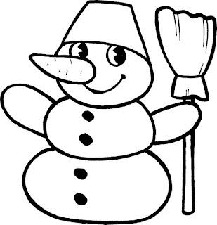 בובת שלג עם מטאטא לצביעה