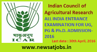 icar+all+india+entrance+examination++for+ug+pg+and+phd+admission+2016