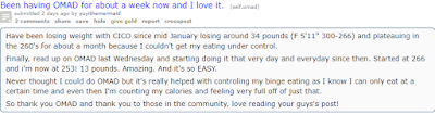 A Redditor sharing there experience/opinion about OMAD