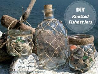 Vasetti con rete da pesca fatta a mano - MLI