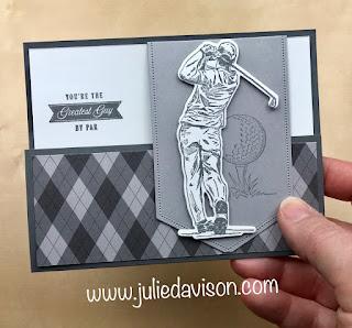 Stampin' Up! Country Club Clubhouse Golf Flap Fun Fold Card + VIDEO ~ www.juliedavison.com