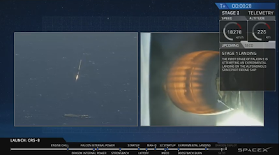 left: Falcon 9 high above barge; right: second stage motor