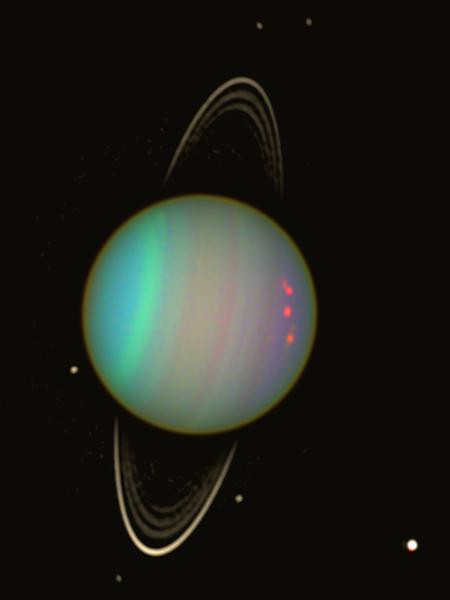 Banded structures and hazes aligned parallel to Uranus' equator.