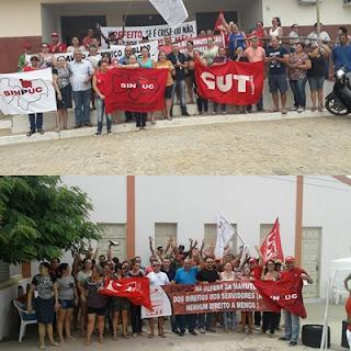 Servidores públicos protestam nas ruas de Pedra Lavrada