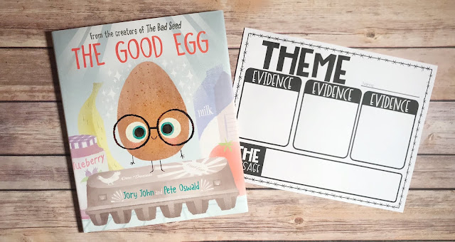 """Picture Book with text """"The Good Egg"""" and Theme Graphic Organizer"""