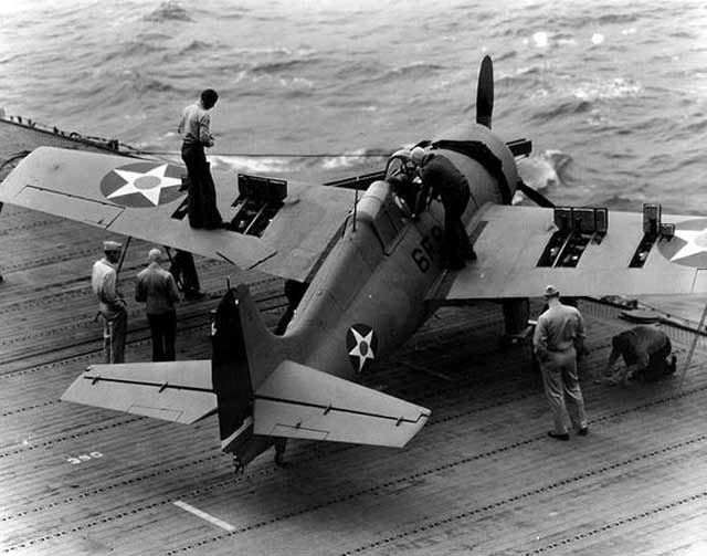 Wildcat of VF-6 testing its machine guns on USS Enterprise 10 April 1942 worldwartwo.filminspector.com