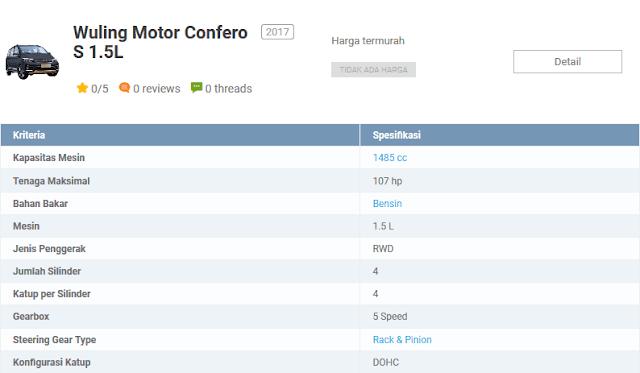 9. Wuling Confero S - Mobil MPV Yang Paling Nyaman Suspensinya
