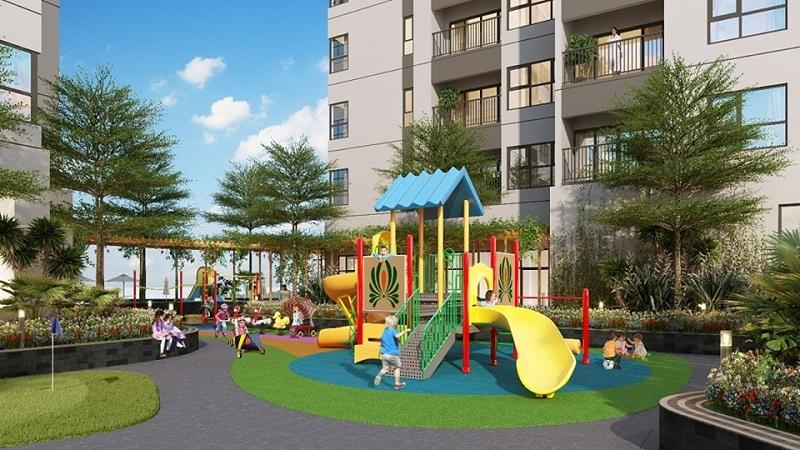 Khu vui chơi trẻ em riêng biệt được xây dựng trong không gian thoáng đãng, an toàn.