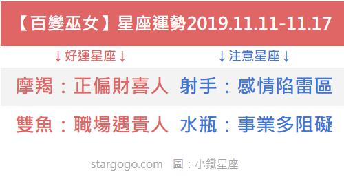 【百變巫女】一周星座運勢2019.11.11-11.17