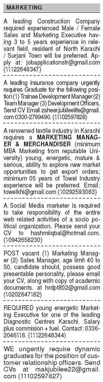 Marketing Staff Sales Staff Management Staff Jobs in Karachi