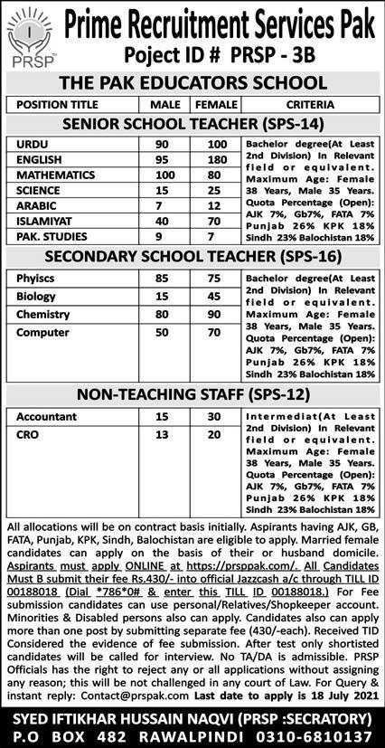 Prime Recruitment Services Pakistan (PRSP) Jobs 2021 in Pakistan