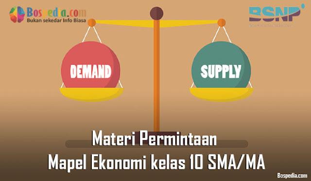 Materi Permintaan Mapel Ekonomi kelas 10 SMA/MA