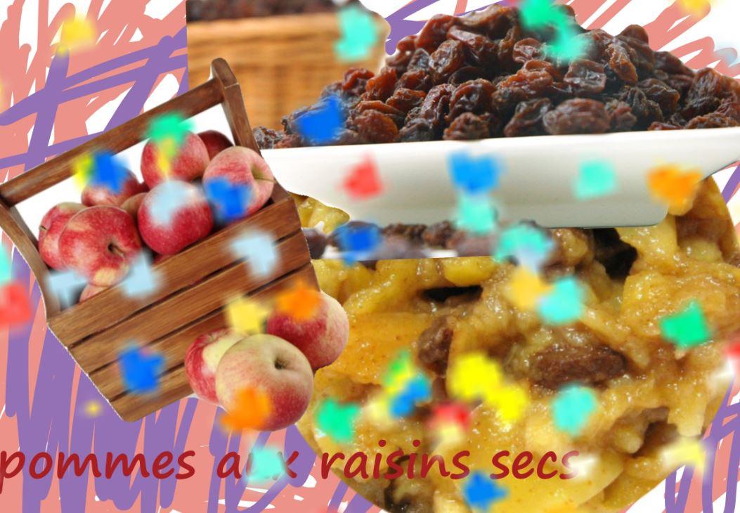 dessert aux fruits, pommes, raisins secs - vegan - sans gluten