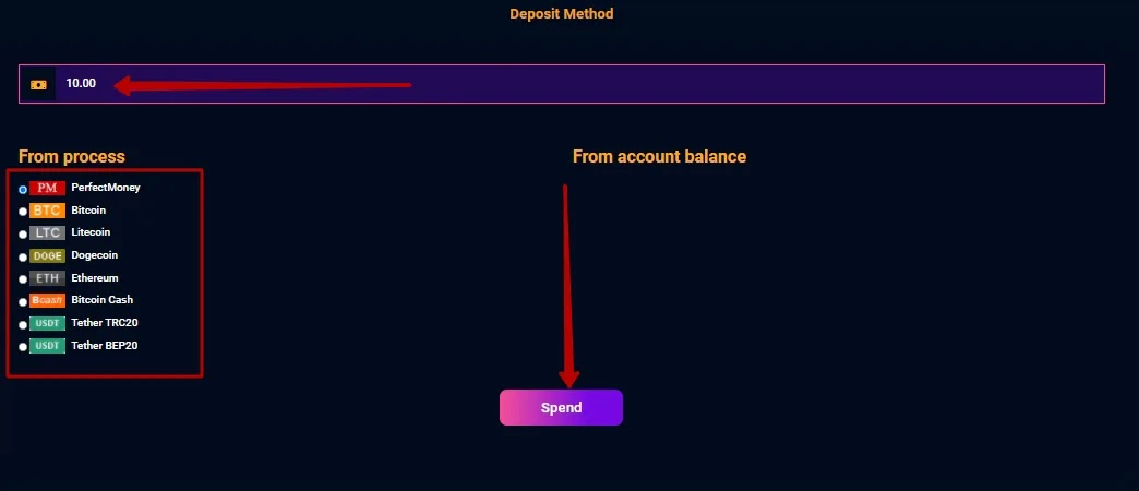 Пополнение баланса в Elite Coins Limited 2