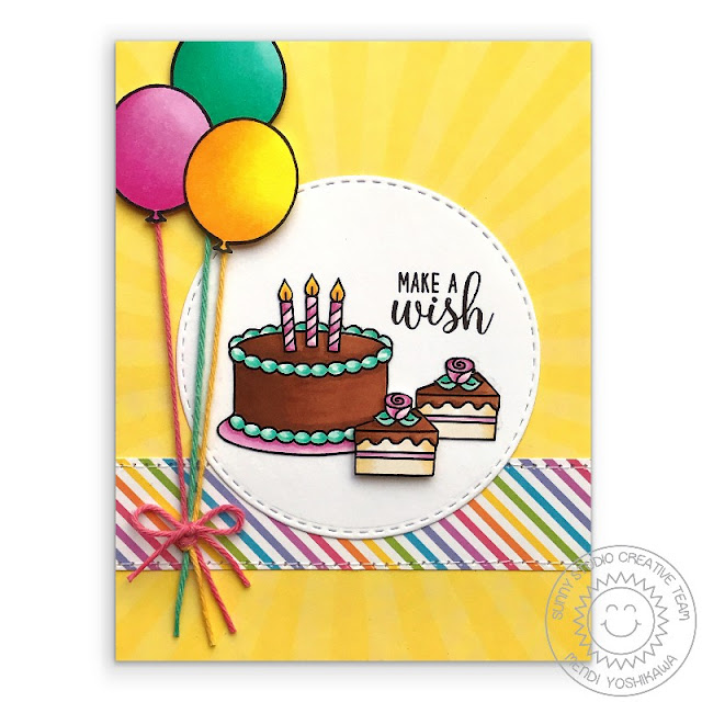 Sunny Studio Stamps: Make A Wish Birthday Cake Card (using Spring Sunburst 6x6 Papers & Birthday Smiles Stamps)