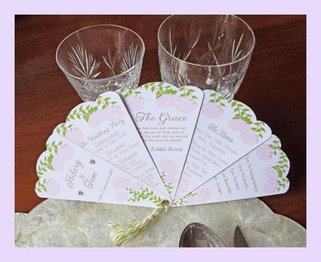 Wedding fan programme by Hilary Milne for Silhouette UK