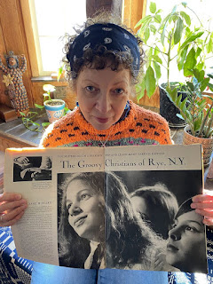 Kristen Skedgell holds the May 14, 1971, edition of Life magazine, which included a story about the religious cult Skedgell joined when she was a teenager. Skedgell is the main subject shown in the magazine photo. (Afaa M. Weaver)