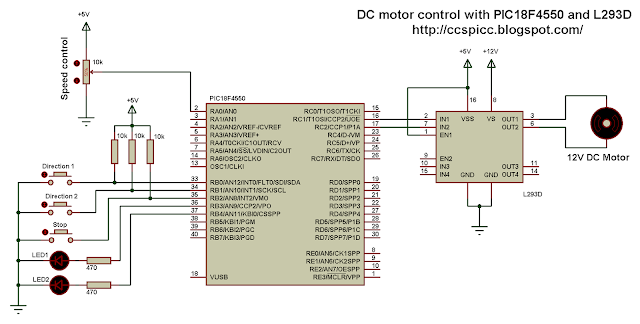 DC motor speed direction control using PIC18F4550 and L293D CCS PIC C