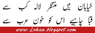 Khayaban Mein Hai Muntazir Lala Kab Se Qaba Chahye Iss Ko Khoon-e-Arab Se