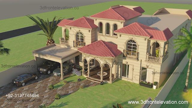 2 kanal spanish house design in pakistan