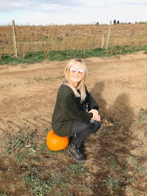 Pumpkin picking at Farmer Copleys - sitting on a pumpkin