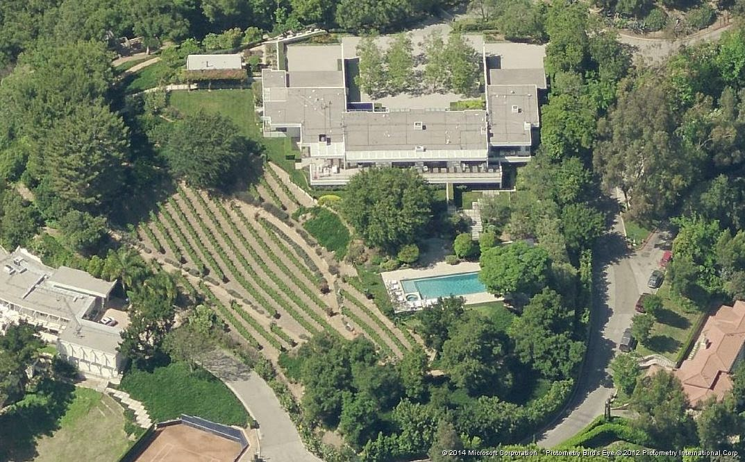 The south side of actress Jennifer Aniston's house.