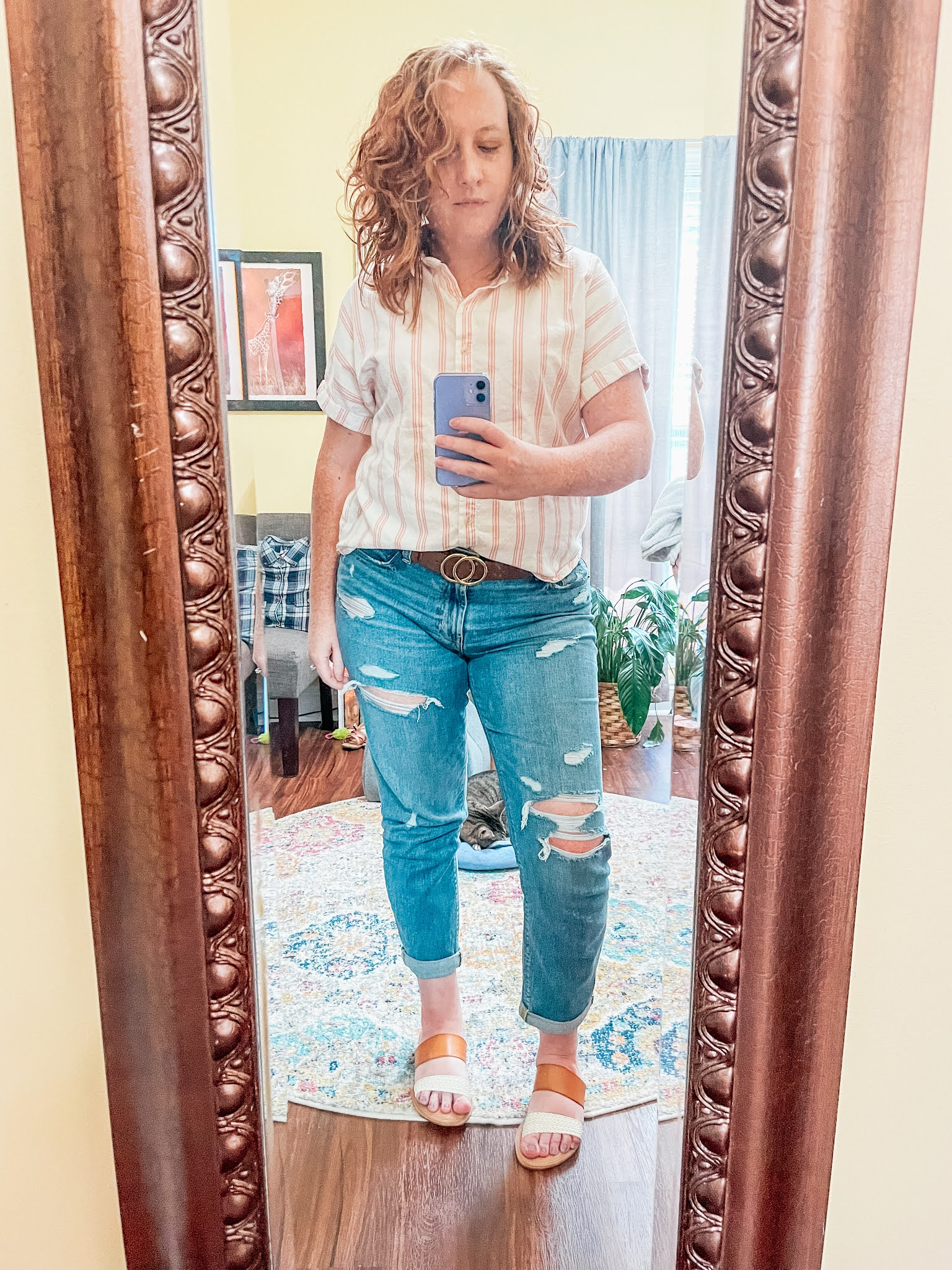 peach-striped-button-up-boyfriend-jeans