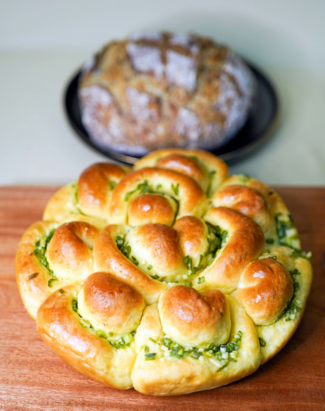 homemade baker's table: scallion buns & seeded sourdough bread