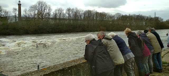 Walkers contemplating the fish ladder on the Creuse River at Descartes.  Indre et Loire, France. Photographed by Susan Walter. Tour the Loire Valley with a classic car and a private guide.